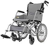 Estable Cojín de asiento doble Carro para scooter para personas mayores / discapacitadas Sillas de ruedas Plegable Silla de ruedas ligera Autopropulsada Ligera Plegable Manual ajustable Pedal de pie