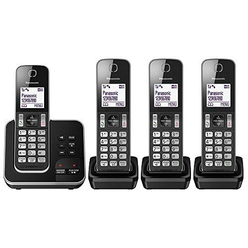 Panasonic KX-TGD324EB Cordless Home Phone with Nuisance Call Blocker and Digital Answering Machine - Pack of 4