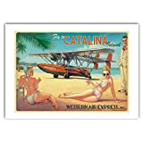 Bruno Graff Póster Cartel Offset Pin-Up Wings Fly to Catalina Island, Hugault (70x50cm)...