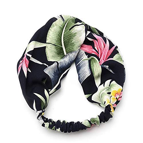 Boho Bandeaux pour les femmes fleur vintage imprimé croisillons élastique Head Wrap Twisted Accessoires cheveux mignon