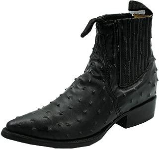 Men Genuine Ostrich Print Short Ankle Western j Toe Boots
