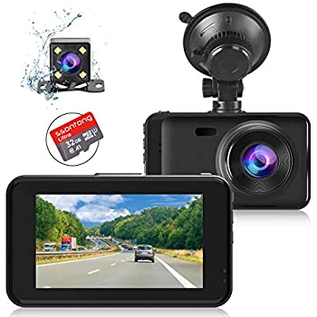 Dual Dash Camera for Cars Front and Rear Dash Cam with Night Vision 1080P Full HD Car Camera 170 Wide Angle Reserving Camera with 32GB SD Card G-Sensor Parking Monitor Loop Recording Motion Detection