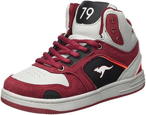 KangaROOS Unisex-Kinder K-BaskLED II Sneaker, Rot (Velvet Red/Vapor Grey), 36 EU