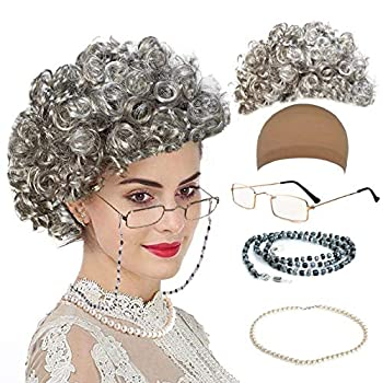 qnprt Old Lady/Mrs Santa Wig Madea Granny Glasses Eyeglass Chains Holder and Cords Strap,FauxPearl Beads Choker Necklaces,Style-1