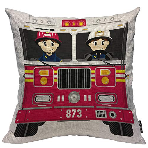 Mugod Fireman and Fire Engine Decorative Pillow Case Cartoon Firefighter Badge Helmet Fire Truck Red Throw Pillow Cover Home Decor Cotton Linen Square Cushion Cover for Couch Bed Sofa 20X20 Inch