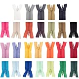 YuChiSX 52 Pcs Fermetures Éclair Multicolore,Fermeture à Glissière en Nylon Couture Assorties 8 Pouces,26 Couleurs en Nylon Fermetures à Glissière en Bobine Coloré pour la Couture Artisanat