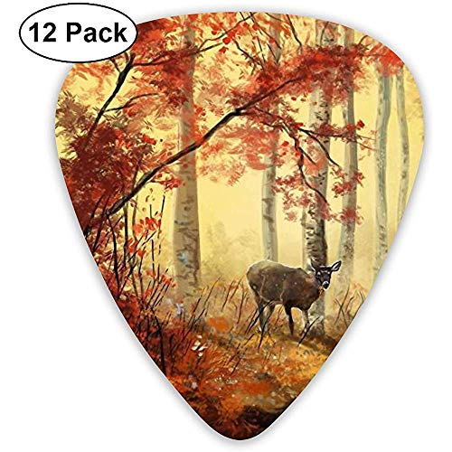 Autumn Animals Deer Painting Art Plektren 12 Ukulelen-Plektren, einschließlich 0,46 mm, 0,71 mm, 0,96 mm Akustikgitarre
