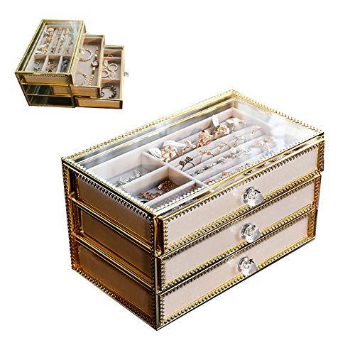 LHY SAVE Joyeros Organizador con 3 cajones Acrílico Organizador de Joyas Caja de joyería Terciopelo para Anillos, Collar, Pendientes-Organizador cosmético,24x14.5x14.5cm