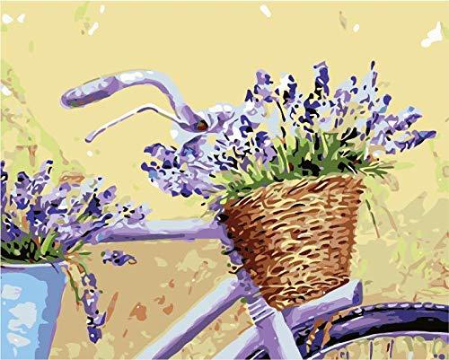 Schilderen op cijfers, voor volwassenen, voor kinderen, volwassenen, schilderen, fiets, bloemen, paars, wanddecoratie voor huis, woonkamer, slaapkamer, 40 x 50 cm (zonder lijst).