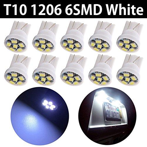 TABEN 194 Ampoules LED 6000K Blanc 168 2825 175 192 Ampoule LED W5W T10 6-SMD 1206 chipsets Plaque d'immatriculation Voiture dôme Carte Porte lumières de courtoisie (Pack de 10)