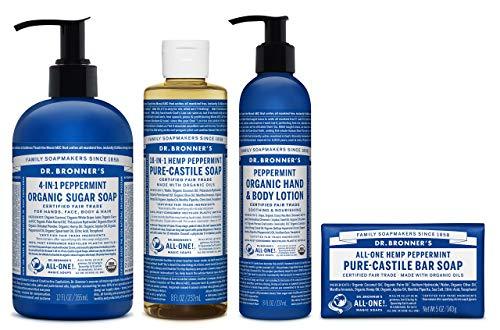 Dr. Bronner's - 4 Piece Peppermint Gift Set - (1) 12 Ounce Sugar Soap, (1) 8 Ounce Pure-Castile Liquid Soap, (1) 8 Ounce Lotion, and (1) 5 Ounce Bar Soap