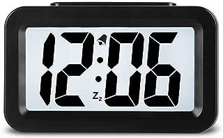 Hense Creative Smart Nightlight Alarm Clock Bedside Desk Table Electronic Clock Battery Operated Mute Luminous Alarm Clock with Adjustable Light for Kids Students HA35 (Black)