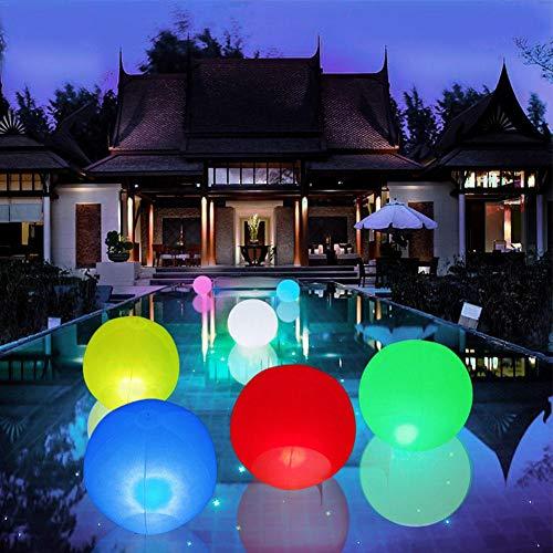 Leiyini Blinkender Strandball Aufblasbarer und schwebender Ferngesteuerter LED-Poolspielzeug Glow in The Dark Ball für Partybevorzugungen Dekorationslichter Poolpartyzubehör 7Colors 12 Zoll / 14 Zoll