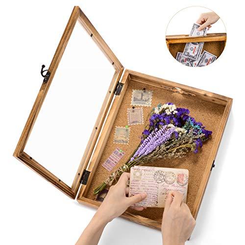 ikkle Shadow Box Frame Memory Box Schaukasten Bilderrahmen Holz 39x31cm Bilderrahmen mit Öffnung zum Befüllen 28x28cm Objektrahmen mit 12 Stecknadeln für Andenken