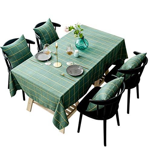Couverture de table étanche à la poussière pour la table à manger verte idyllique en coton à carreaux de coton rectangle pour la décoration de table, fêtes d'intérieur ou d'extérieur, utilisation quot
