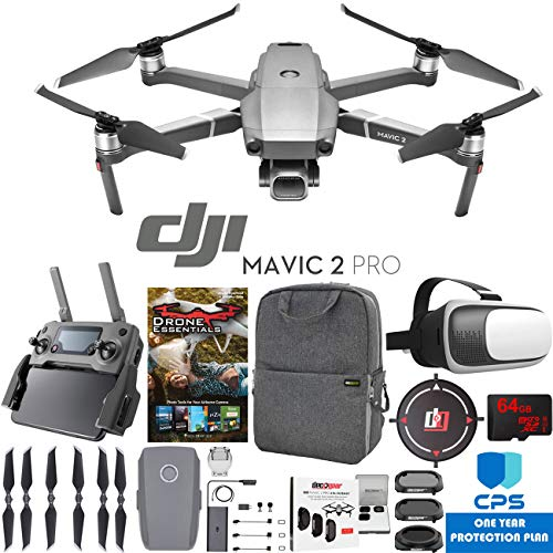 DJI Mavic 2 Pro Drone with Hasselblad Camera Pro Essential Bundle with Backpack Case, Multi Coated Filter Kit, VR Goggles, 64GB High Speed SDXC Card, Editing Software & 1 Year Warranty Extension