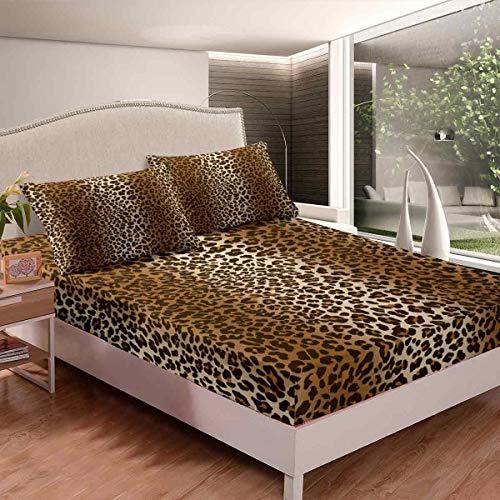 Leopardenmuster Spannbettlaken Luxus Cheetah Bedrucktes Bettlaken Set für Mädchen Frauen Wildtier Thema Spannbetttuch 140x200cm Wildlife Stil Dekor