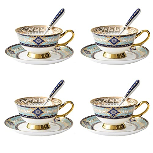 Latte Art Cup English Tea Cup and Saucer Set- 6oz Premium Quality Bone China Hand-made Golden Flower Pattern Teacup ,Teacup Coffee Cup Spoon Saucer and Metal Cup Holder,set of 4 Coffeezone