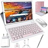 Tablet 10 Zoll Android 10, 4 GB RAM + 64 GB ROM Quad Core 4G Tablet mit Tastatur + Deutsche Tastaturaufkleber + Stift, Type C, 5MP+8MP Kamera, 8000mAh Akku WiFi 4G Dual-SIM/SD Bluetooth Tablet PC