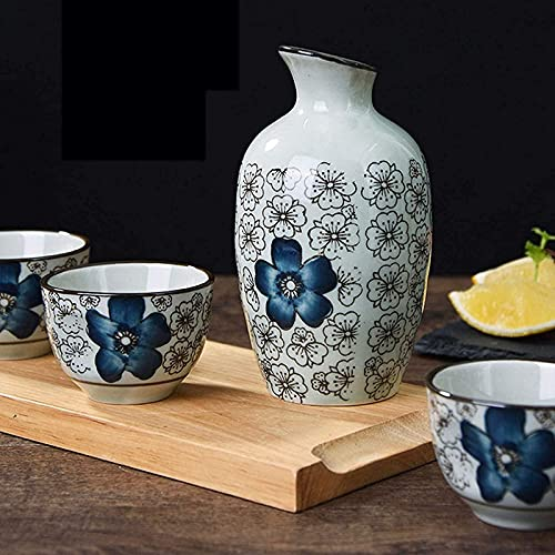MISS KANG Juego de sake japonés de estilo japonés juego de copas de vino tradicional de cerámica para artesanía, juego de sake japonés Sake Qingchunw (color: C)