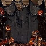 EMAGEREN Tissu Effrayant d'Halloween en Coton Polyester Chiffon Effrayant Tissu Effrayant 5M * 2.15M Halloween Decoration Doux Facile à Couper pour Maison Hantée Porte Halloween Fête Decoration - Noir