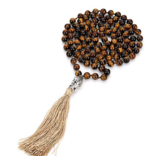 BALIBALI 108 Mala Rosary Beads Yoga Buddha Necklace Natural Stone Meditation Statement Necklace Japa Mala Prayer Beaded Tassel Necklace (Tiger Eye)