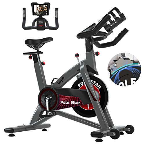 Loyo Magnetic Exercise Bike, Indoor Cycling Bike with LCD Monitor, Stationary Bicycle, Belt Drive Fitness Bicycle- Adjustable Resistance and Pulse Sensor, Cage Pedals for Cardio Home Gym with Comfortable Seat and Water Cup&Pad Holder