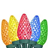 Vanthylit Faceted Led Christmas Lights with Clear Slim C9(Jumbo C7) 50LT Multicolor LED String Light hHigh Voltage lightsf or Indoor and Outdoor Decoration(End to End Connectable Up to 90 Sets)