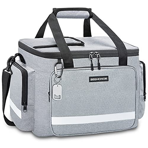 Insulated Cooler Bag Leakproof 60 Can Cooler Large Capacity Collapsible Soft Cooler with Reflective Strip for Outdoor Travel, Camping, Beach (Gray)