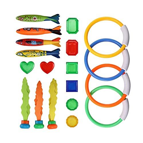 YUWEX 19 Stück Tauchspielzeug Set Unterwasser Pool Schwimmspielzeug für Kinder mit 4 Tauchringen, 4 Wassertorpedobanditen, 3 Tauchbällen und 8 Schätzen Sommer Spaß