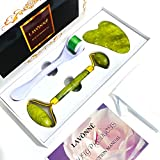 LAVÔNNÉ【4 In 1】Authentic Jade Roller & Derma Roller Set. Jade Face Roller. Jade Roller and Gua Sha Set.Instant Tightening/Lifting/Depuffing Jade Roller Gift Set.