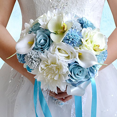 Desuness Wedding Bouquets, Artificial Call Lily Dahlia Flower Bouquet Bride Bridemaids Holding Flower for Wedding Ceremony Anniversary, Party
