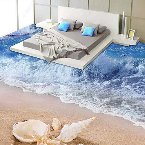Custom 3D Floor Mural Sea Wave Beach Starfish Baño 3D Floor Tiles Wallpaper Pvc Autoadhesivo Impermeable Etiqueta de piso Mural-250 * 175Cm3D Floor Vinyl Autoadhesivo, Impermeable, Super Viv