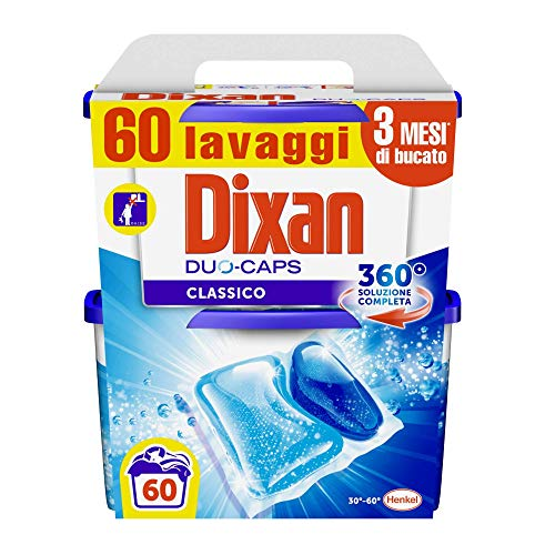 Dixan Duo Caps Classico, Detersivo Lavatrice Pre Dosato in Capsule con Tecnologia Pulito Profondo per Pulizia, 2 Confezioni da 30 Caps