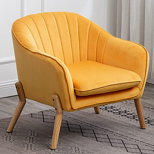 Velvet Accent Chair Yellow Single Sofa Upholstered Armchair for Living Room Bedroom Lounge Padded Seat Tub Chair (2)