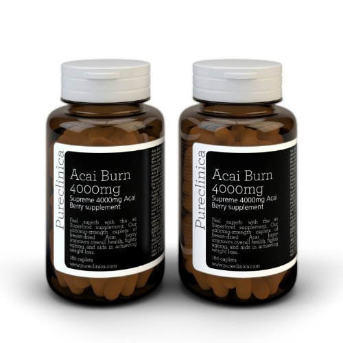 Pureclinica 6 Months Acai Berry 4000mg Acai + 3 highly potent clinically proven fat burner. May help burn 11lb fat month