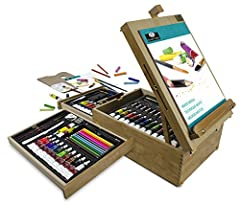 Royal Langnickel all media easel artist set is perfect for the avid artist, student, or traveling artist regardless of age or experience Everything fits neatly into this wooden box for organized and compact storage Kit includes 12 each of Oil Paints,...