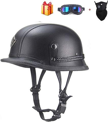 Braveking Casco Moto con Gafas Y Bufanda Half Helmet Verano ...