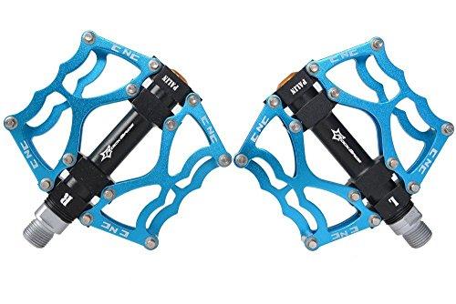 RockBros Aluminum Mountain Bike Bicycle Cycling Platform Pedals 9/16 inch (Blau) - 3