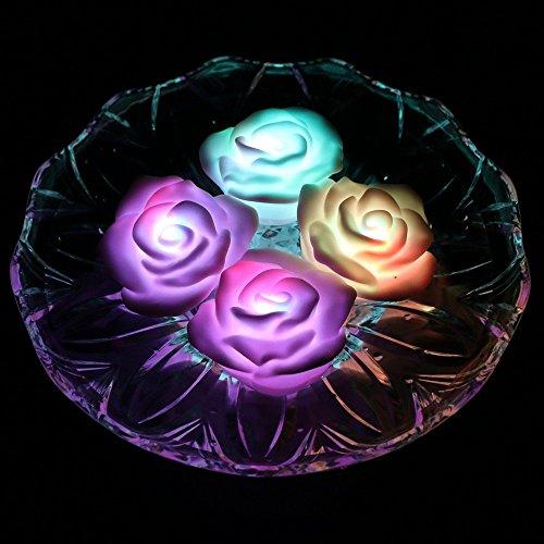 ARDUX LED Schwimmkerze, Rose-Shape für die Beleuchtung mit Farbwechsel Tealight, wasserfest, Nachtlicht, LED-Kerze mit Battery-Powered (4Stück)