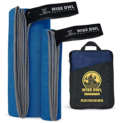 Wise Owl Outfitters Camping Travel Towel - Ultra Soft Compact Quick Dry Microfiber Best Fast Drying Fitness Beach Hiking Yoga Travel Sports Backpacking - XL Rblue