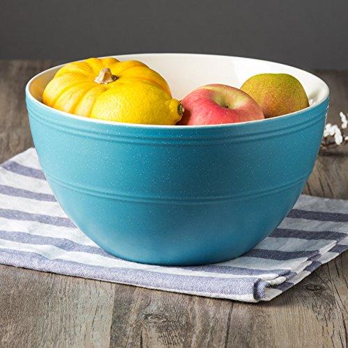 CLG-FLY Large ceramic bowl noodle bowl large bowl bowl Fresh Fruit Salad home,8 inches deep blue soup