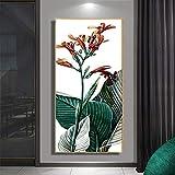 Rahmenlose Malerei Leinwand Wandkunst nordisch grün Balkon Pflanze Blatt Blume Poster Home...
