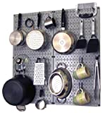 Wall Control Kitchen Pegboard Organizer Pots and Pans Pegboard Pack Storage and Organization Kit with Grey Pegboard and Black Accessories