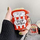 Custodia Per Airpods 1& 2,Carino Cute Personaggio Dei cartone animato 3D Divertente Case Cover Morbida in Silicone Per Airpod,Cartoon Design,Ragazze Custodie Moschettoni Air pods(3D Popcorn)
