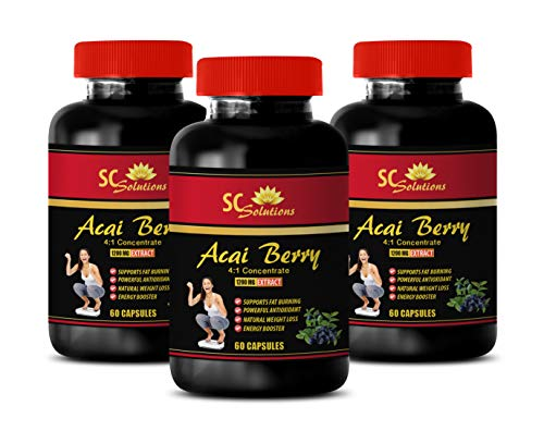 antioxidant Booster Powder - ACAI Berry Extract 1200 Mg - acai Natures Bounty - 3 Bottles (180 Capsules)