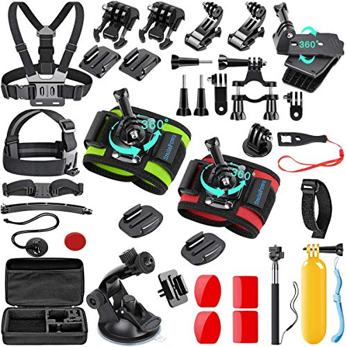 SmilePowo 51-in-1 Action Camera Accessories Kit for GoPro Hero 9 8 Max 7 6 5 4 3 3+ 2 1 Black GoPro 2018 Session Fusion Silver White Insta360 DJI AKASO APEMAN YI Campark XIAOMI Action Camera