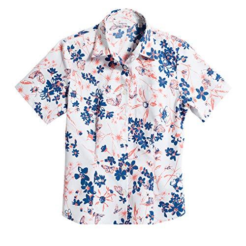 [MAJUN (マジュン)] 国産シャツ かりゆしウェア アロハシャツ 結婚式 レディース シャツ 百華 ネイビー×ピンク L