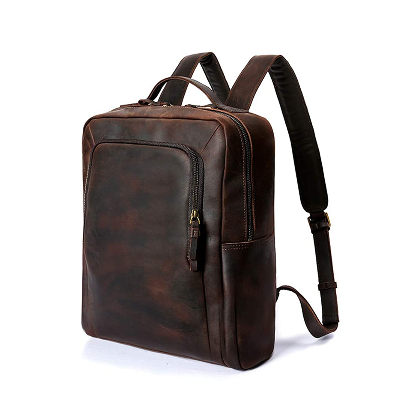 DCRYWRX Men's Leather Backpack, Large Daily Backpack 14 Inch Laptop Backpack Bag Men (Brown)