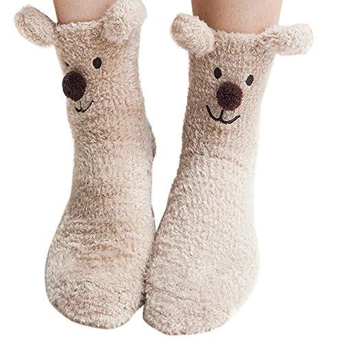 YSFWL Unisex Socken Coral Samt StrüMpfe Röhrensocken StrickstrüMpfe Sportsocken Weihnachtssocken Schlafsocken Weihnachten Cartoon Rutschfeste Medium Herren Damen Halbsocken Baumwolle